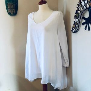 Tops - White High Low Long Sleeve Top Blouse